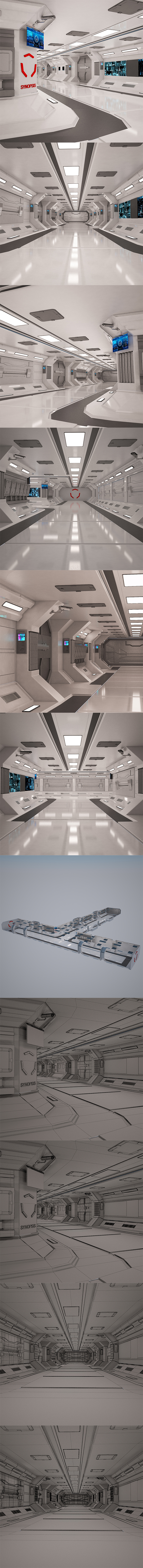 Sci-Fi Spaceship Corridor - 3DOcean Item for Sale