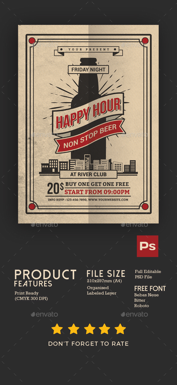 Happy Hour Beer Flyer - Events Flyers