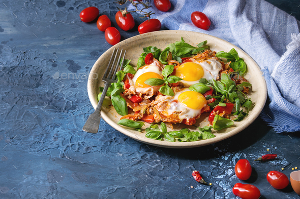 Fried egg with vegetables - Stock Photo - Images