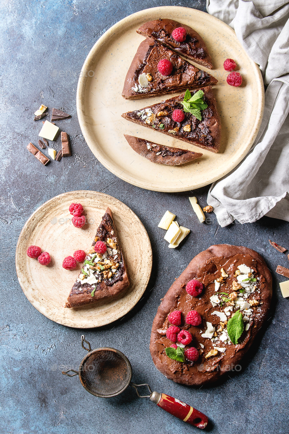 Dessert chocolate pizza - Stock Photo - Images