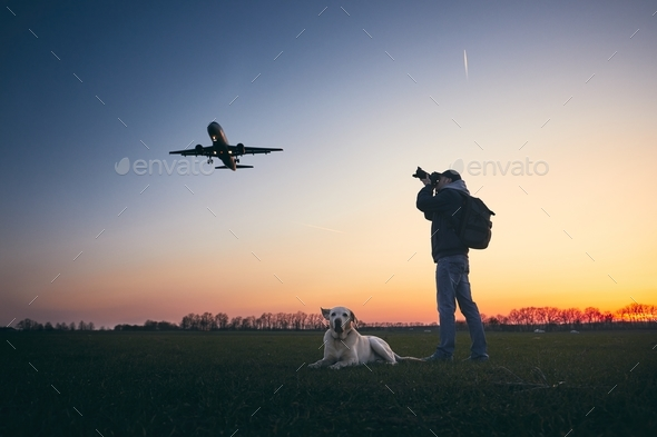 Photographing near airport - Stock Photo - Images