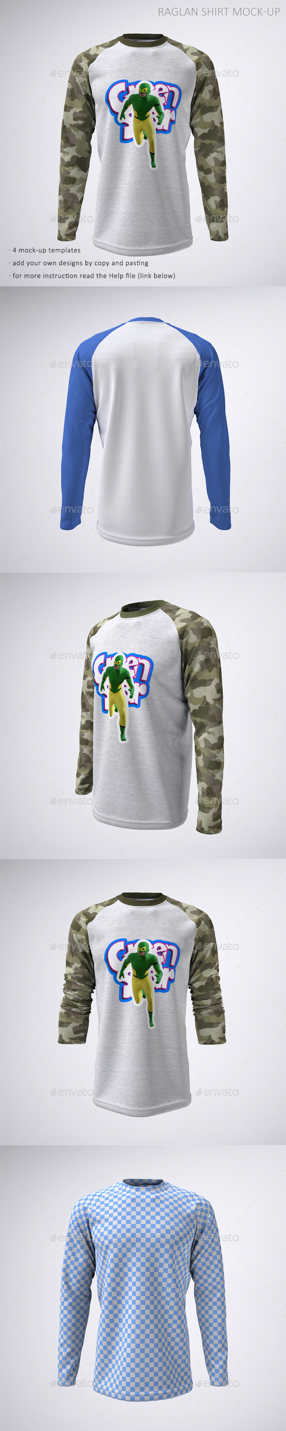 Long Sleeve Raglan or Baseball T-Shirt Mock-Up - T-shirts Apparel