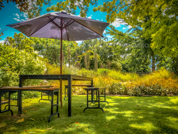 Garden furniture in shadow of backyard - Stock Photo - Images