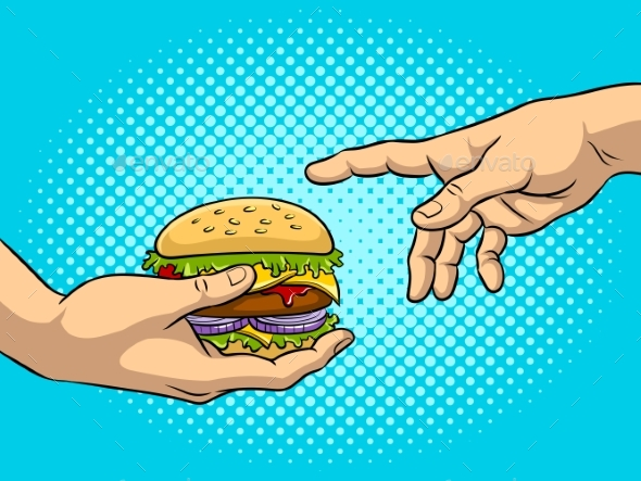 Hands with Burger Pop Art Vector Illustration - Food Objects