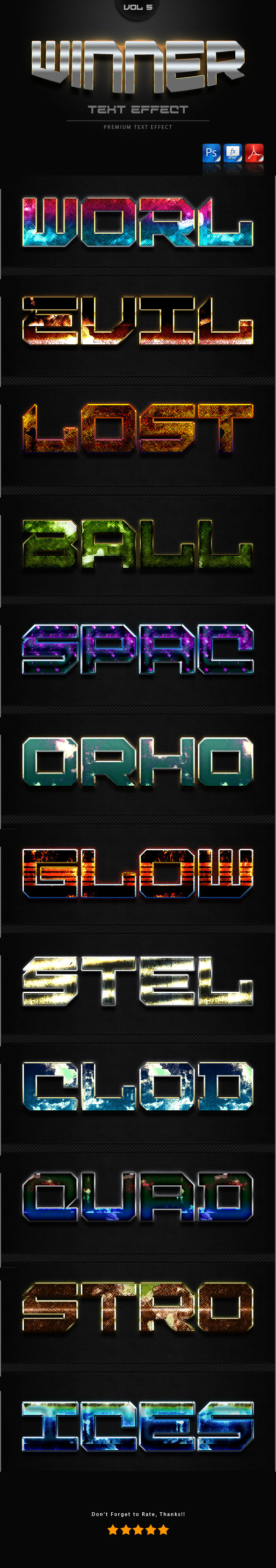 Winner Text Effect Styles Vol 5 - Text Effects Styles