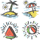 Hand-drawn Summer Icon Set