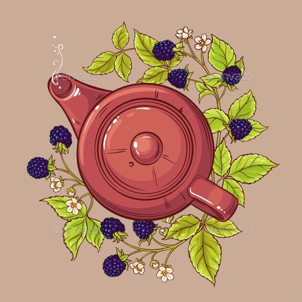 Blackberry Tea in Teapot - Food Objects