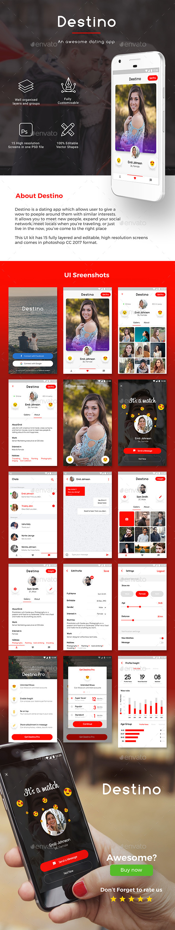 Dating App UI Set for iOS & Android | Destino - User Interfaces Web Elements