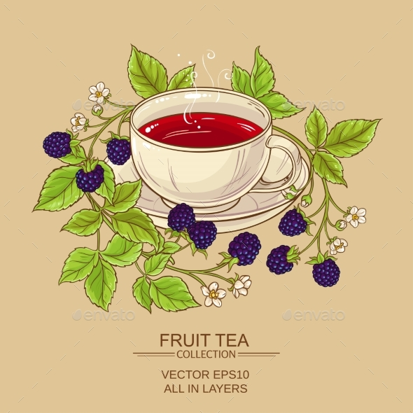 Cup of Blackberry Tea - Food Objects