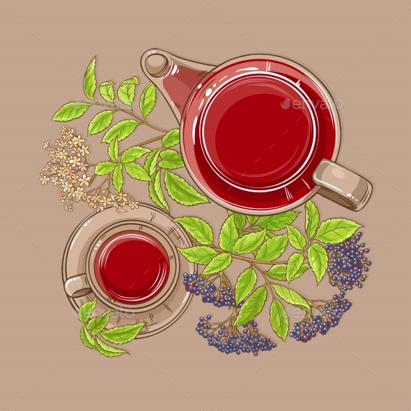 Cup of Elderberry Tea and Teapot - Food Objects