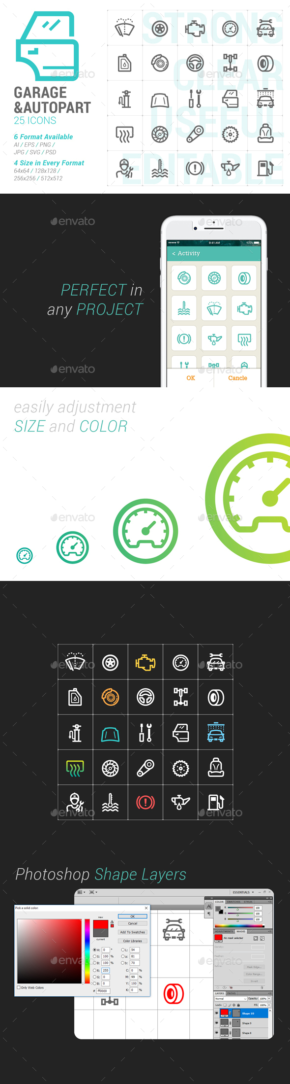 Garage & Auto Part Mini Icon - Objects Icons