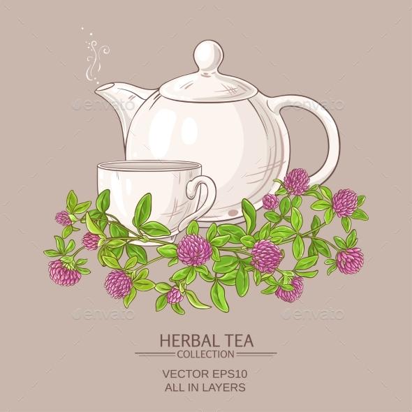 Clover Tea Illustration - Food Objects