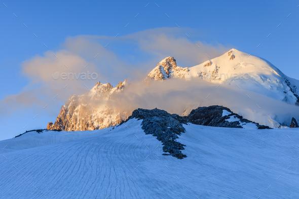glacier du Tour in sunrise. French Alps - Stock Photo - Images