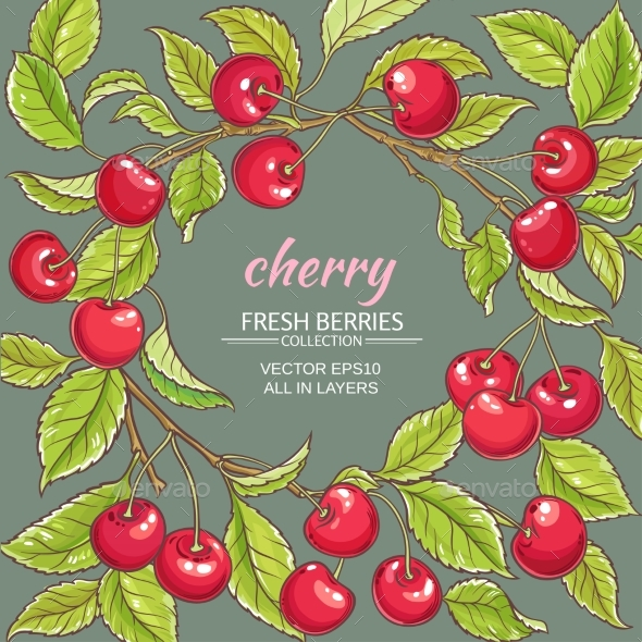 Cherry Vector Frame - Food Objects