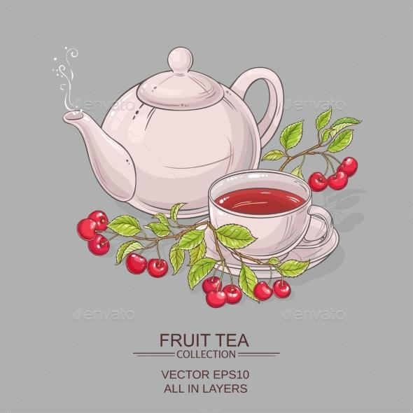 Cherry Tea Illustration - Food Objects