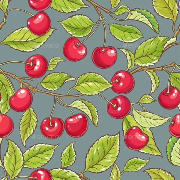 Cherry Vector Pattern - Food Objects