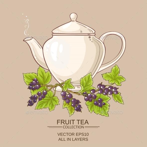 Black Currant Tea in  Teapot - Food Objects