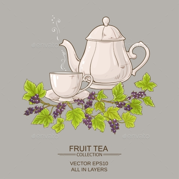 Cup  of Black Currant Tea and Teapot - Food Objects