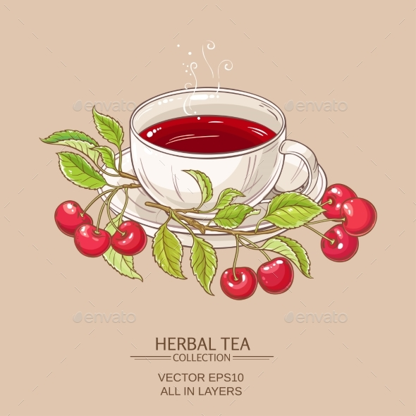 Cherry Tea Illustration - Food Objects