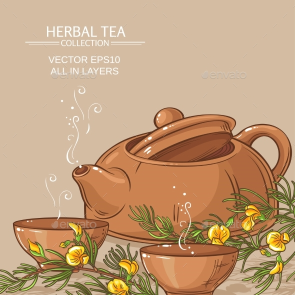 Rooibos Tea in Teapot and Tea Bowls - Food Objects