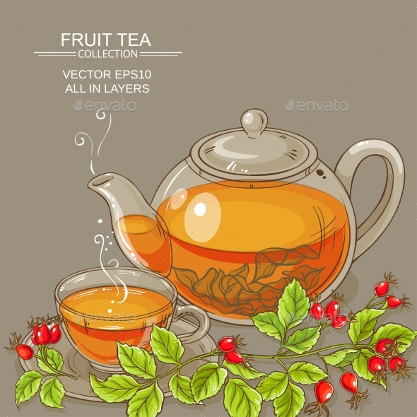Cup of Wild Rose Hips Tea and Teapot - Food Objects