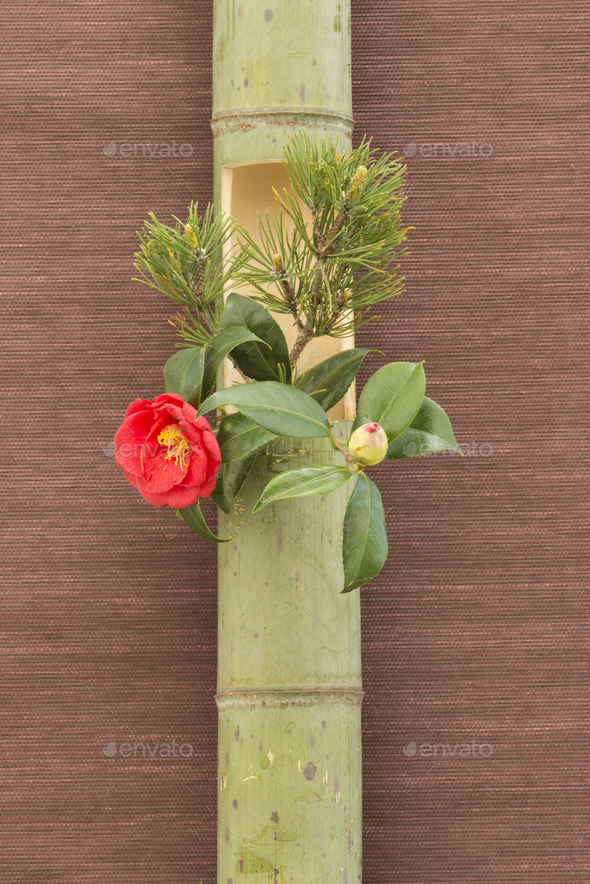 Japanese flower arrangement in bamboo - Stock Photo - Images