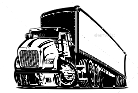 Cartoon Semi Truck - Man-made Objects Objects