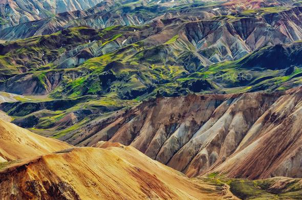 Landscape detail view of Landmannalaugar colorful volcanic mountains - Stock Photo - Images