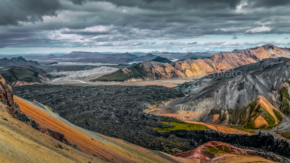 Colorful volcanic landscape with lava flow in Landmannalaugar, Iceland, Europe - Stock Photo - Images