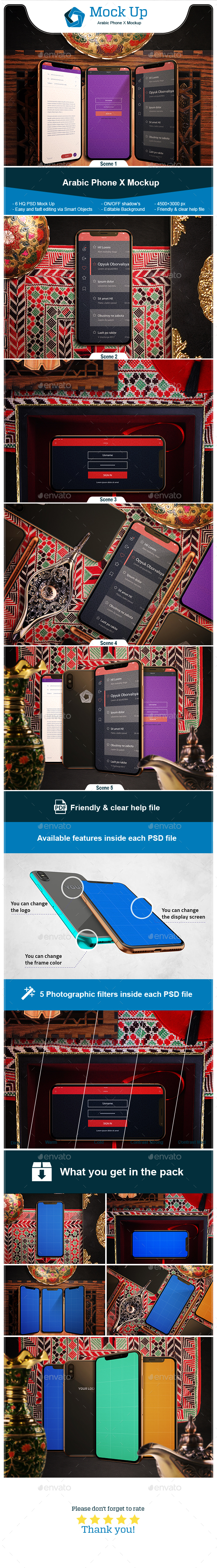 Arabic iPhone X Mockup - Product Mock-Ups Graphics