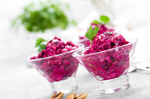 Beet salad. Salad of boiled beet. Beetroot salad - Stock Photo - Images