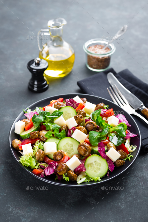 Fresh vegetable salad with mushrooms - Stock Photo - Images