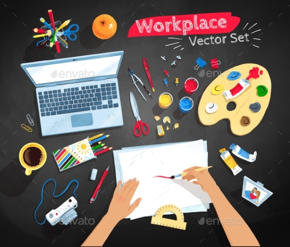 Top View Illustrations Set of Artist Workplace