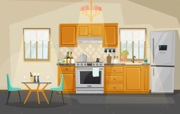 Kitchen Interior View - Man-made Objects Objects