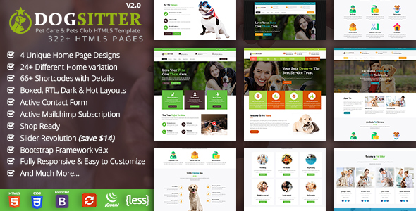 Dog Sitter - Pet Grooming & Pets Shop HTML5 Template