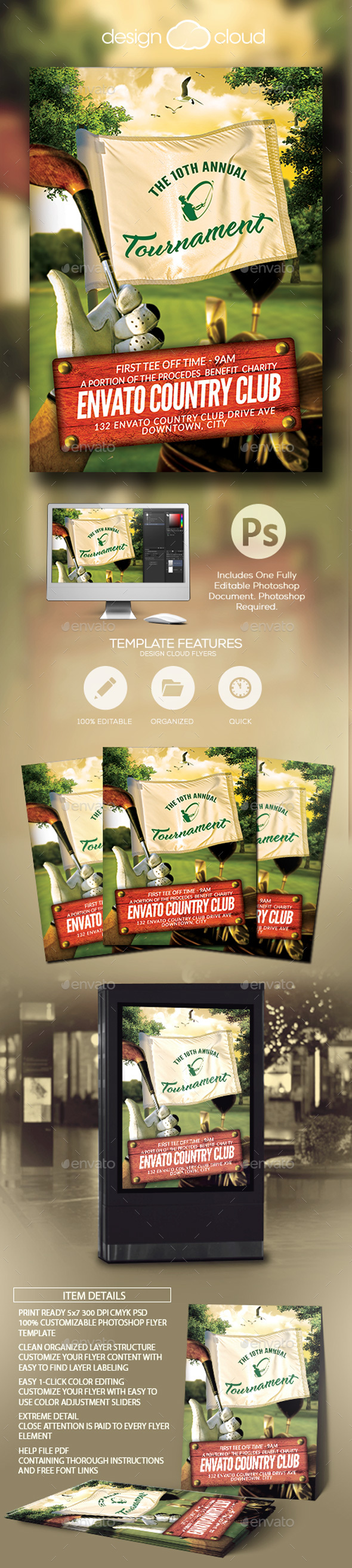 Golf Tournament Event Flyer Template - Sports Events