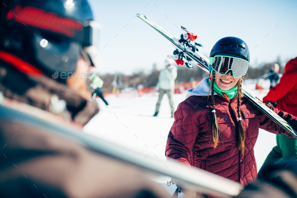 Skiers with skis and poles, extreme lifestyle - Stock Photo - Images