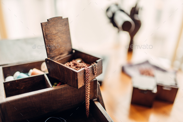 Needlework, rings in box, selective focuse, nobody - Stock Photo - Images