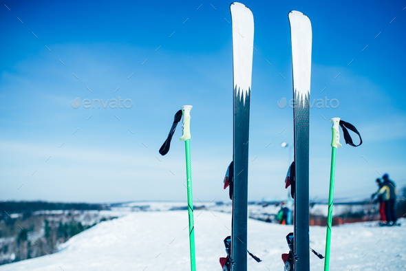 Skis and poles sticking out of the snow, nobody - Stock Photo - Images