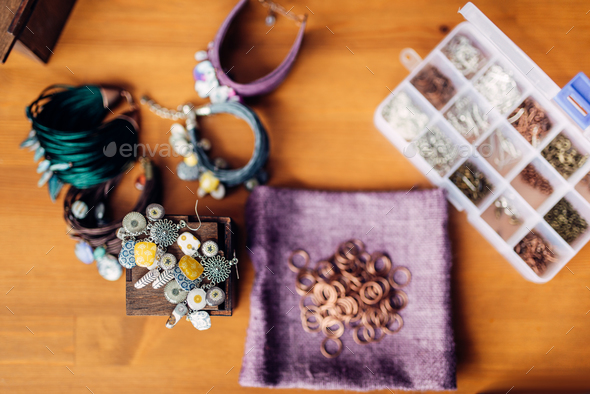 Equipment for needlework, bracelets, top view - Stock Photo - Images