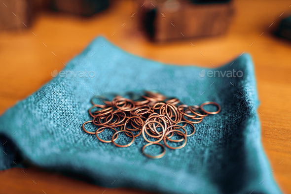 Metal rings, equipment for needlework, closeup - Stock Photo - Images
