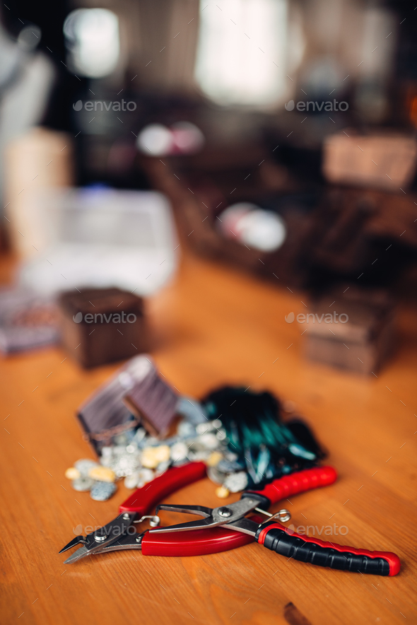 Accessories for needlework and pliers, top view - Stock Photo - Images