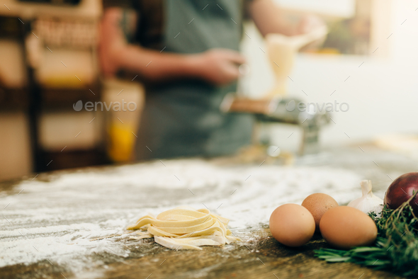 Ingredients for cooking homemade pasta, fettuccine - Stock Photo - Images
