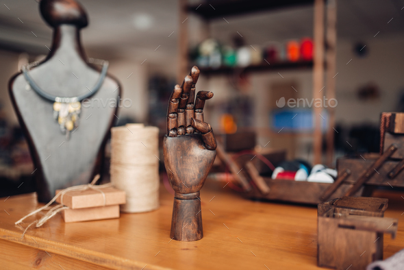 Needlework tools on table in workshop, bijouterie - Stock Photo - Images