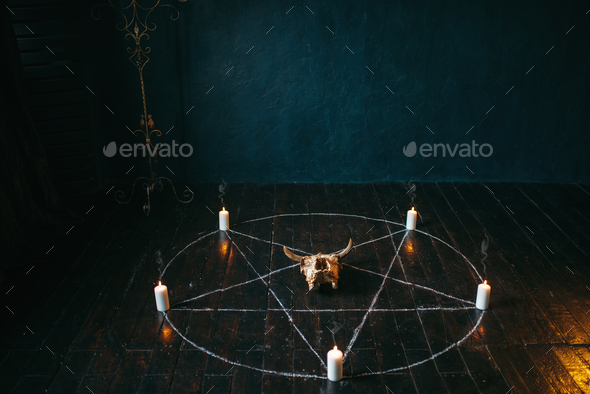 Pentagram circle with candles on wooden floor - Stock Photo - Images