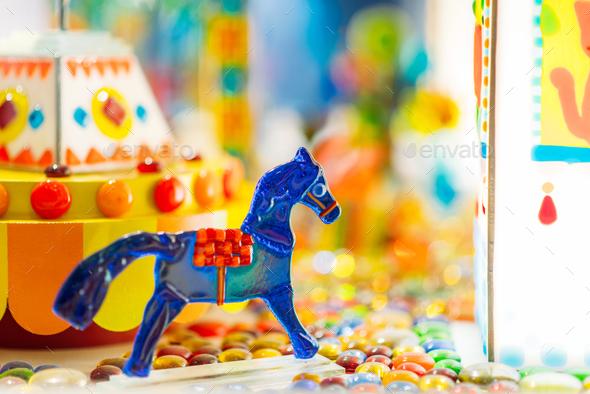 Handmade sugar caramel horse in showcase - Stock Photo - Images