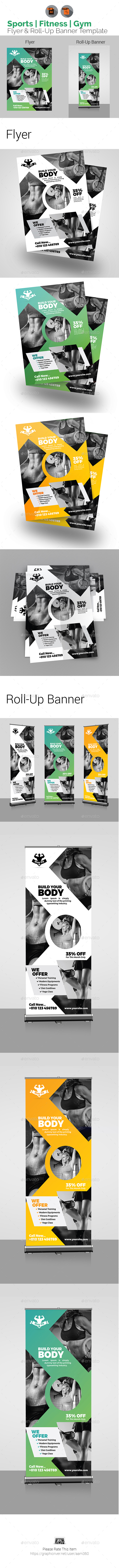 Sports | Fitness | Gym Flyer & Roll-Up Bundle - Print Templates
