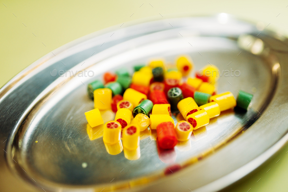 Colorful handmade sugar caramel sweets in plate - Stock Photo - Images