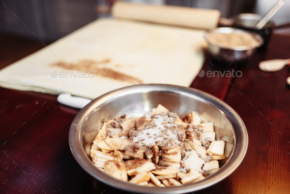 Apple strudel ingredients on wooden table, nobody - Stock Photo - Images