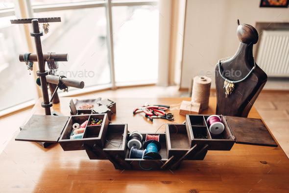 Box with needlework tools, handicraft equipment - Stock Photo - Images